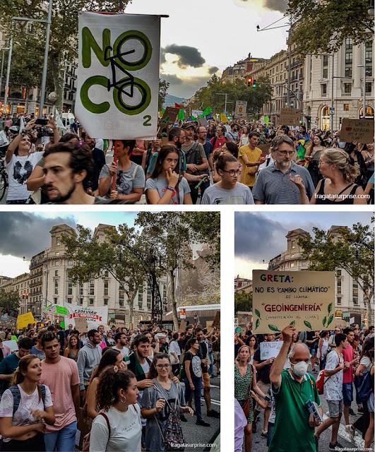 Passeata da Greve Geral pelo Clima no Passeig de Gràcia, em Barcelona, em setembro de 2019