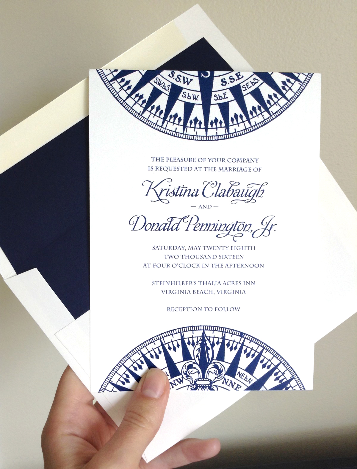 Nautical Wedding Invitations in Navy and White with Compass Rose by Concertina Press