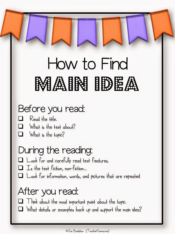 Free resource:  How to Find the Main Idea of a text.  TeacherKarma.com