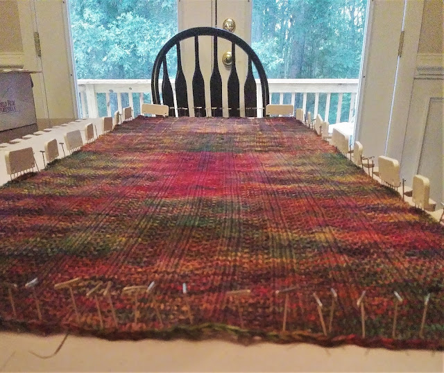 Malibrigo Rios in autumn colors on blocking mats