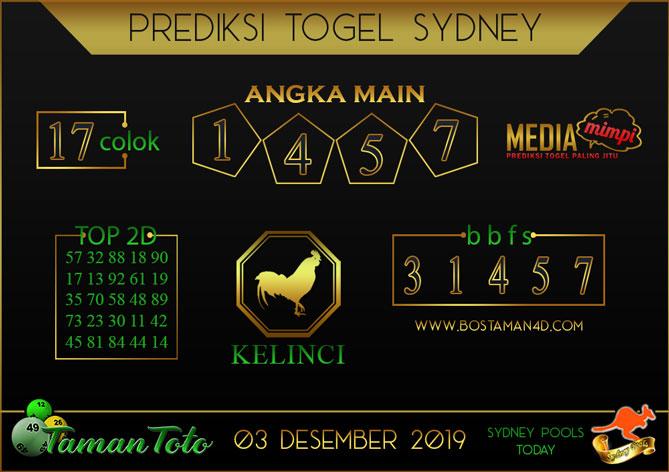 Prediksi Togel SYDNEY TAMAN TOTO 03 DESEMBER 2019
