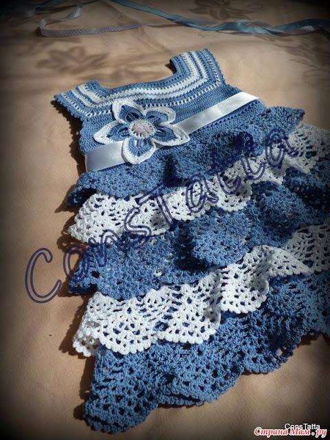 Patrón #1866: Como tejer vestido de bebé a crochet.