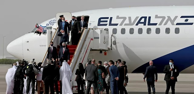 وصول الطائرة الكيان الصهيوني التي تقل وفدين أميركي والصهيوني إلى أبو ظبي