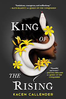 A Black man in profile with a curving white snake on the side of his face.