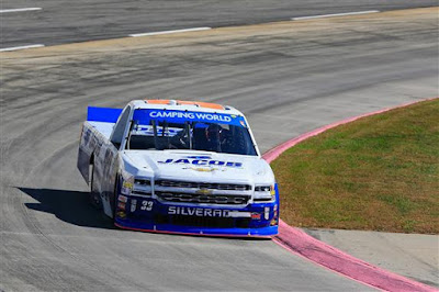 Ben Kennedy, driver of the #33 Jacob Chevrolet, practices  for the NASCAR Camping World Truck Series Texas Roadhouse 200