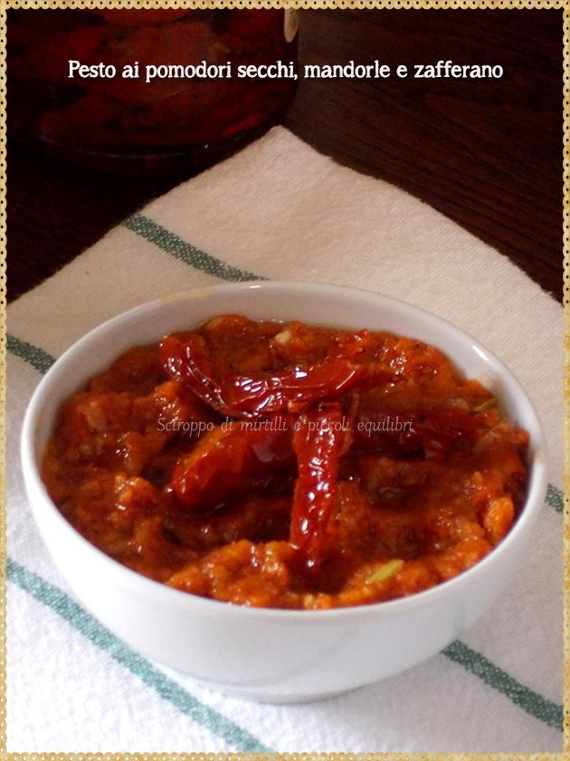 Pesto ai pomodori secchi, mandorle e zafferano
