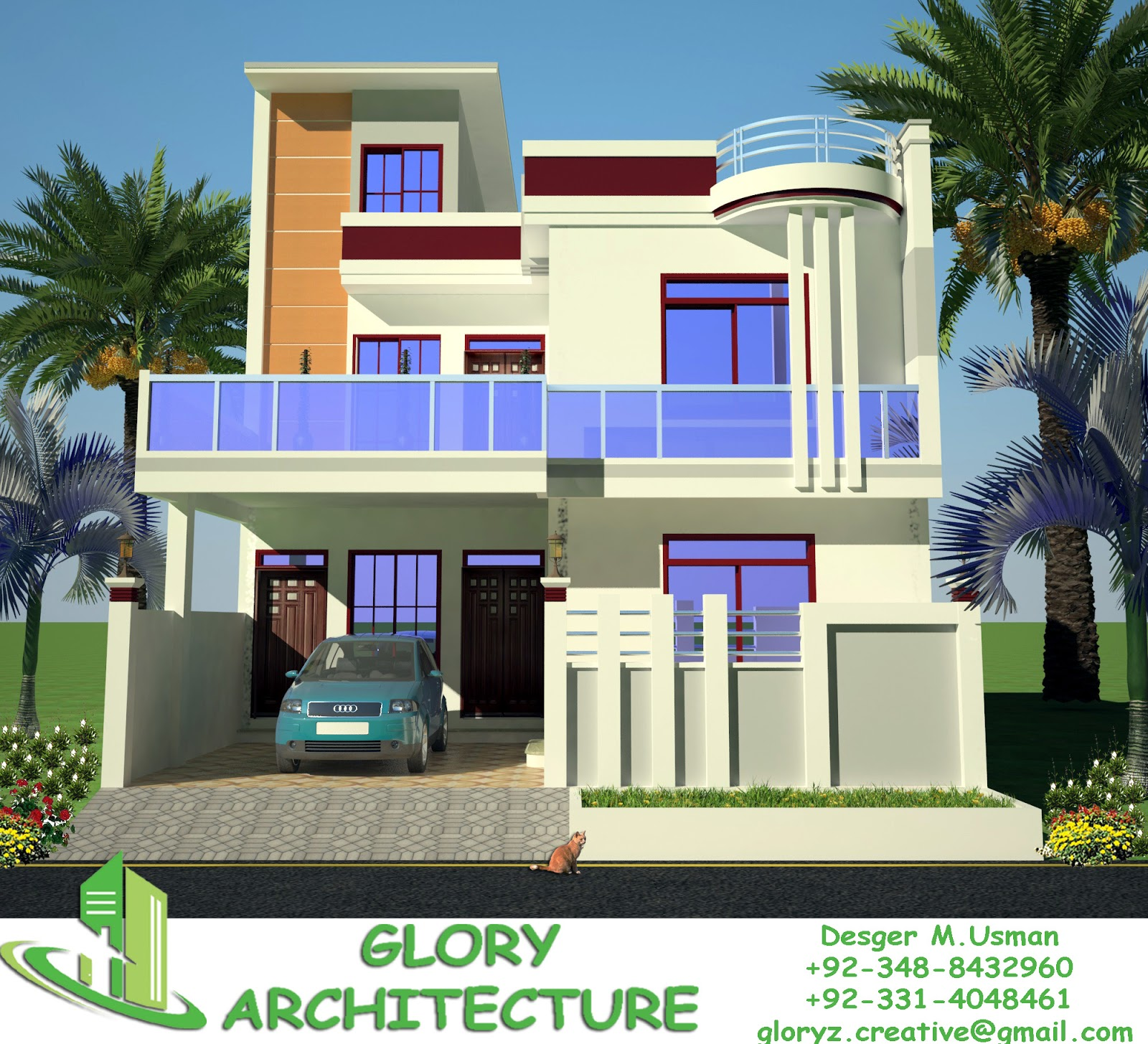 30x60 house plan elevation 3d view drawings pakistan House plan 3d view