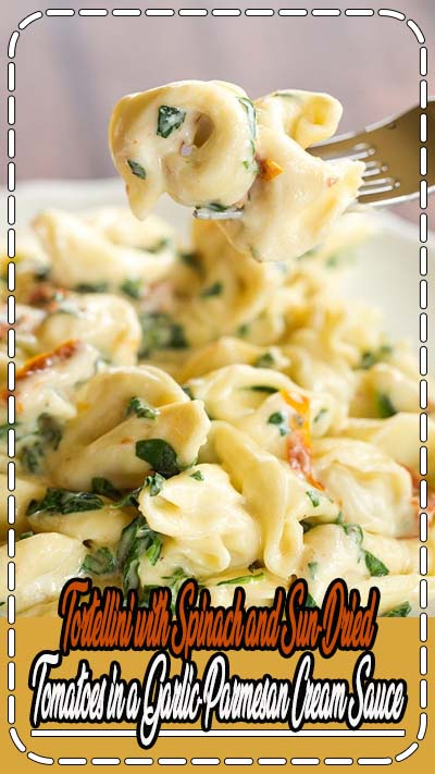 Cheese tortellini are tossed in an easy Parmesan cream sauce with spinach and sun-dried tomatoes.