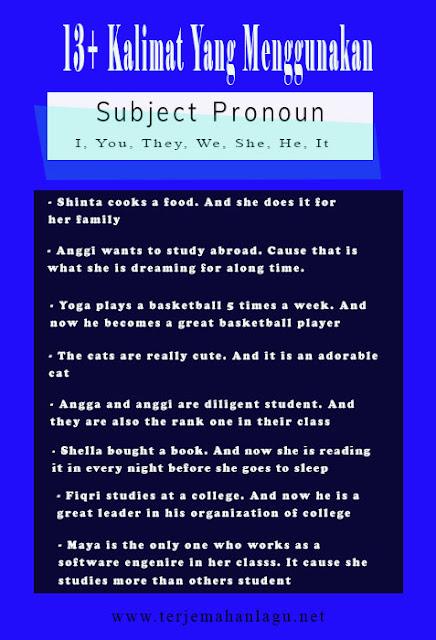 13+ Kalimat Subject Pronoun Dalam Bahasa Inggris