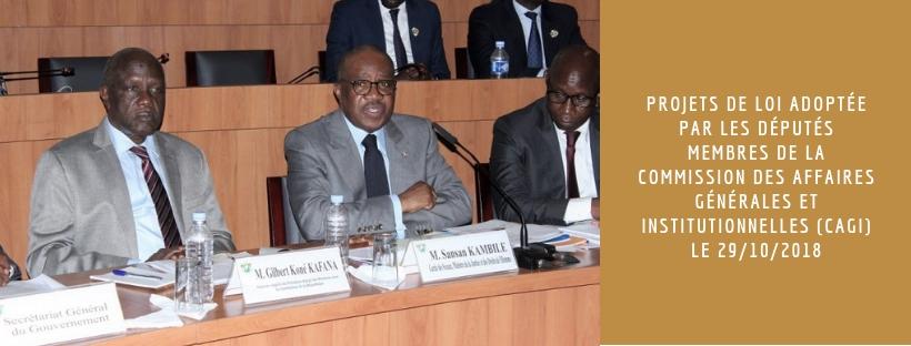 2 projets de loi adoptée par les Députés membres de la Commission des Affaires Générales et Institutionnelles (CAGI) le 29/10/2018