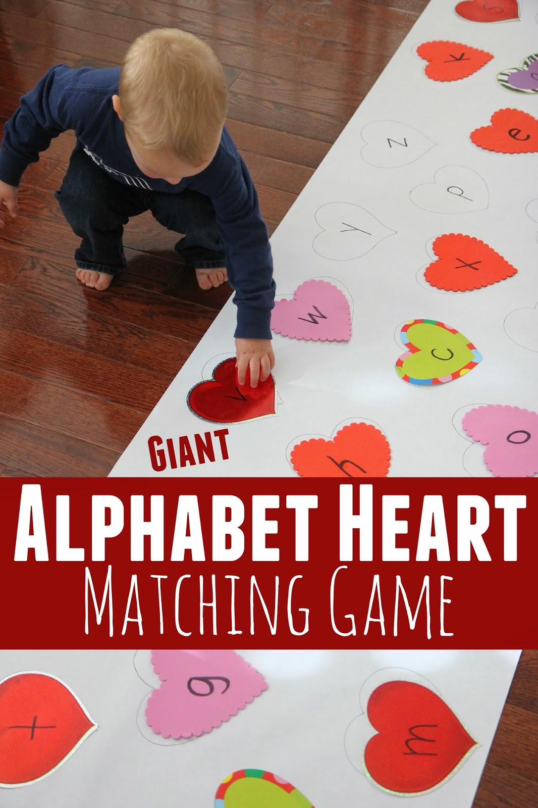 Toddler Approved Giant Alphabet Heart Matching Game
