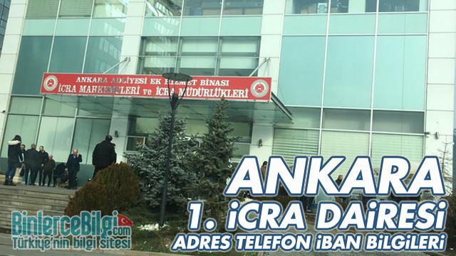 Ankara 1. İcra Dairesi Adresi, Telefonu, İBAN