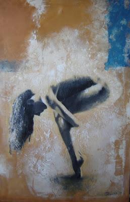 Mujer lateral.Técnica mixta al óleo sobre lienzo.180 cm x 110 cm