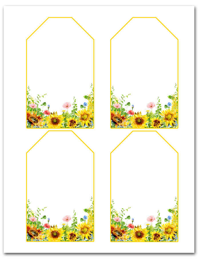 Sunflower Hanging Gift Tags