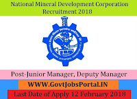 National Mineral Development Corporation Recruitment 2018 – 34 Junior Manager, Deputy Manager, Junior Officer Trainee