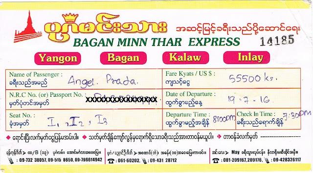 Billete de autobús Yangón - Bagán