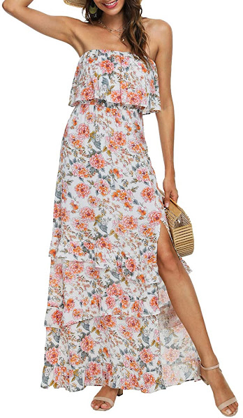 Best Quality Floral Strapless Maxi Dresses