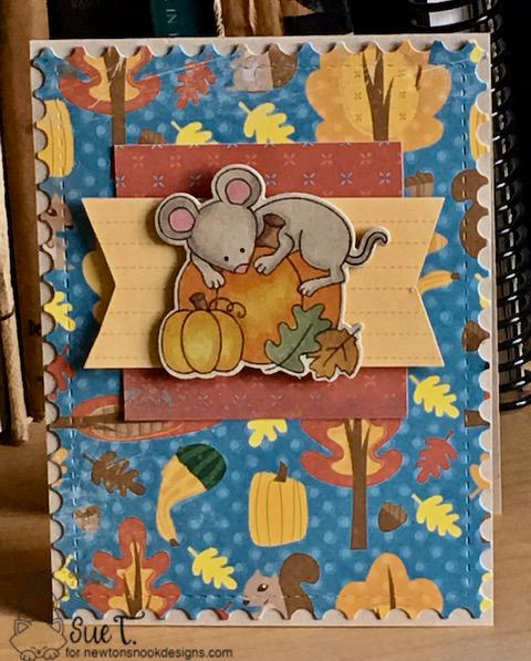 Sue T's card features Autumn Mice and Framework by Newton's Nook Designs; #newtonsnook