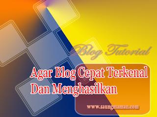 Agar Blog Cepat Terkenal Dan Menghasilkan