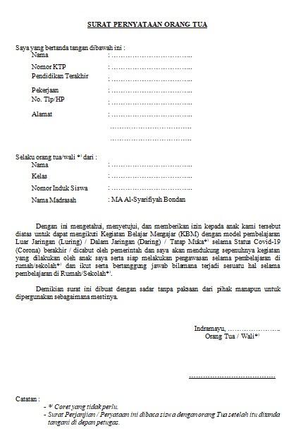 Surat Pernyataan Orang Tua Wali Dalam Pembelajaran Covid 19 Home