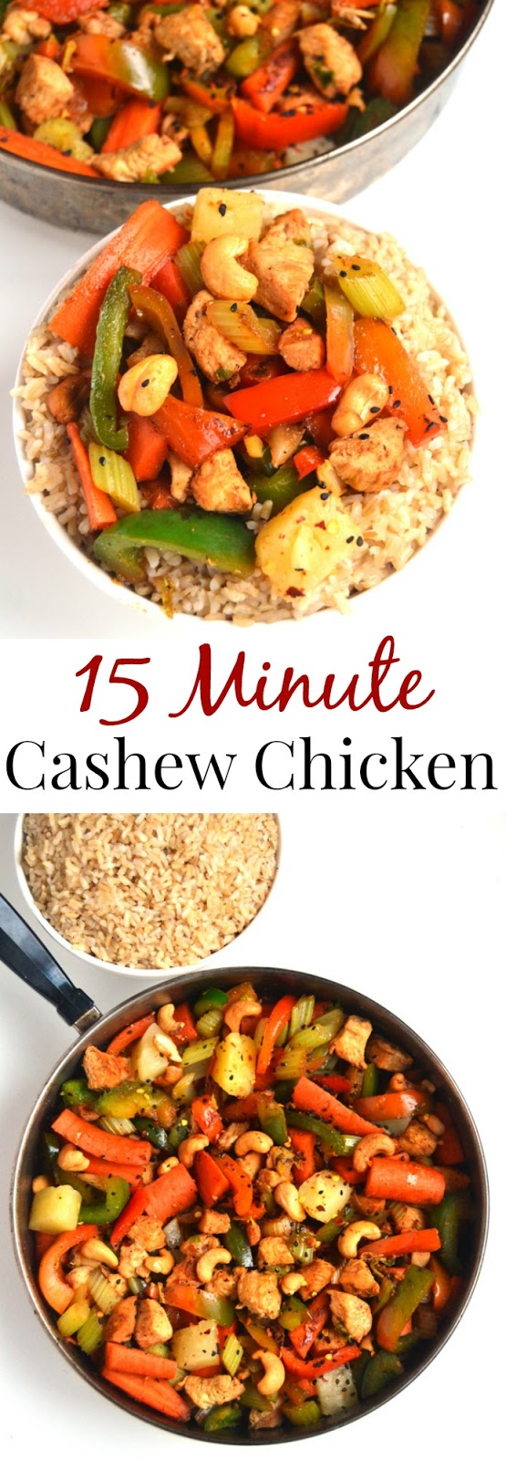 15 Minute Cashew Chicken is ready so easy to make and is the perfect lighter stir-fry with chicken, cashews, peppers, carrots, pineapple, celery and a delicious homemade sauce! www.nutritionistreviews.com