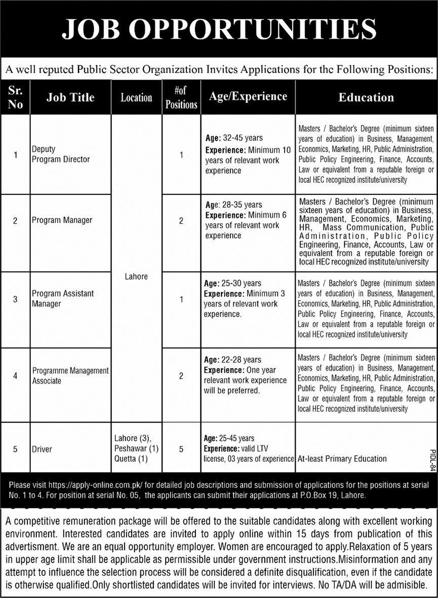 Public Sector Organization PO Box 19 Jobs 2021 in Pakistan