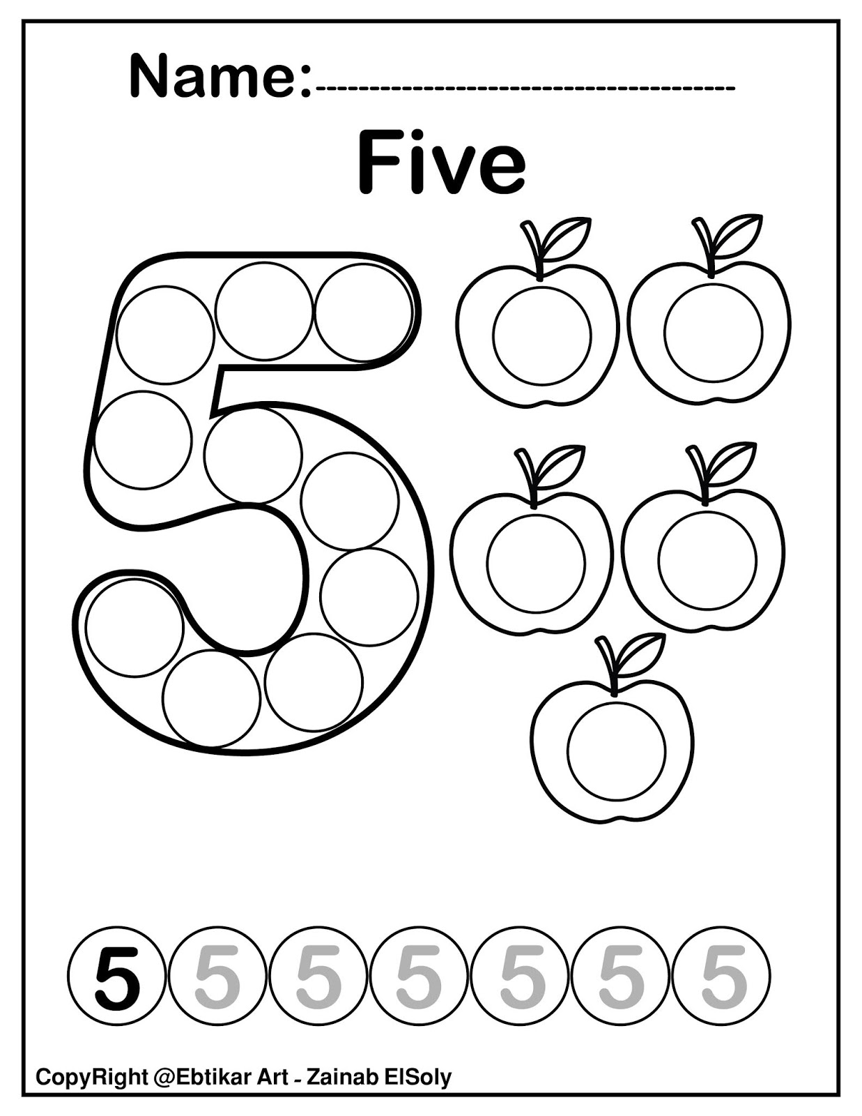 - Set Of 123 Numbers (Count Apples) Dot Marker Activity Coloring