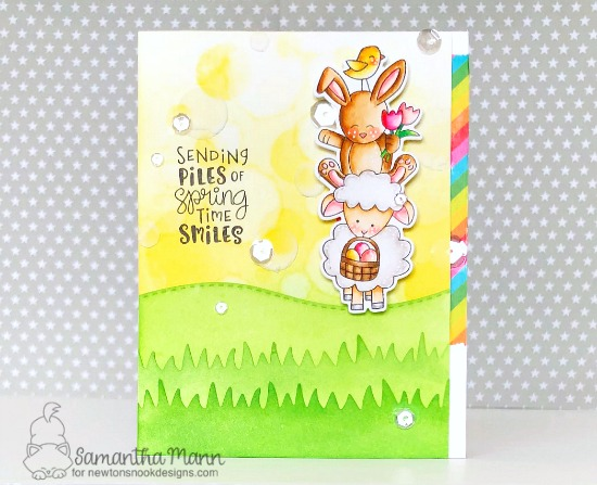 Spring Card with pile of Animals by Samantha Mann | Spring Pile Up Stamp Set and Land Borders Die Set by Newton's Nook Designs #newtonsnook #handmade