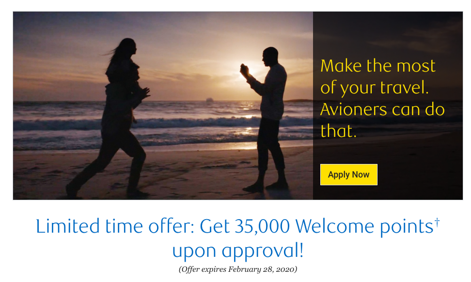Great new offer for the RBC Avion Visa Infinite Card - 35,000 points upon approval, no minimum spend requirement