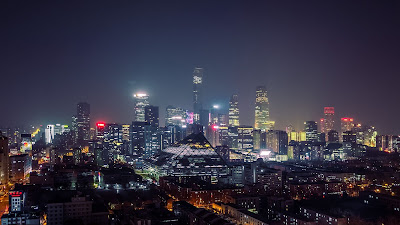 City, Buildings, Aerial view, Lights, Night