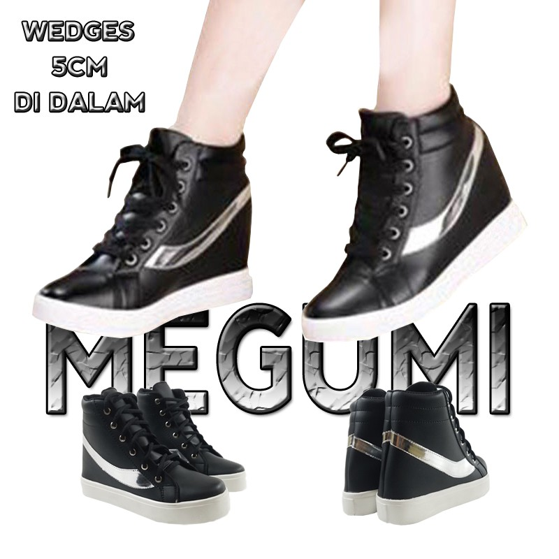 MEGUMI Sneakers Hidden Wedges Cewek Korea Casual / Sneaker Wanita Hitam Slash Silver