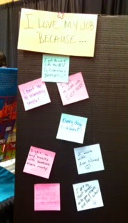 I love my job because post it note board librarians