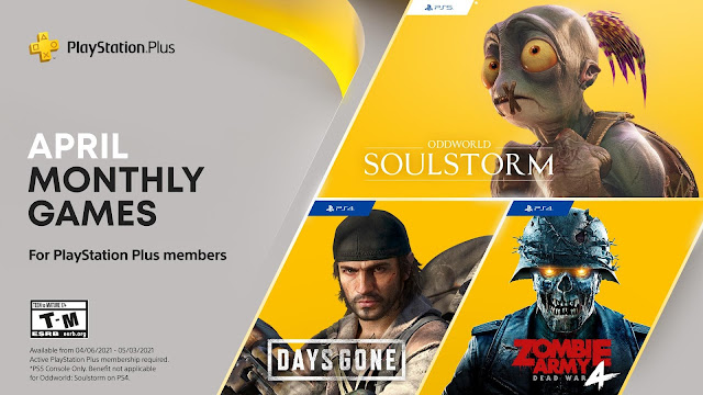 PlayStation Plus Monthly Games for April - Oddworld: Soulstorm, Days Gone, and Zombie Army 4: Dead War in the list | TechNeg