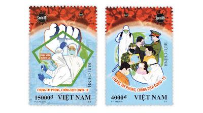 Vietnam koronavirus COVID-19 postimerkki