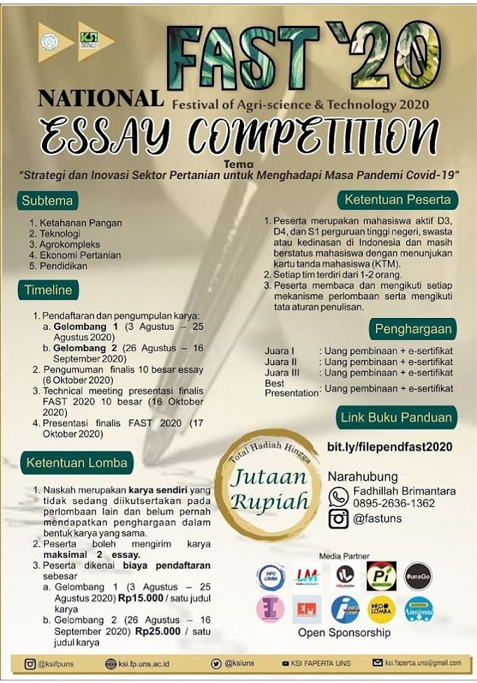 National Essay Competition Festival of Agri-Science and Technology 2020 (FAST'20)