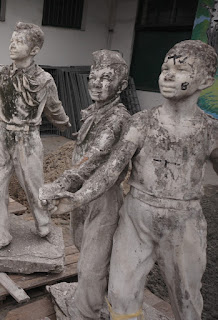 Dismantled figures of an old sculpture 7