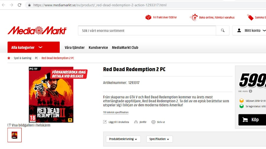 red dead redemption 2 pc listing