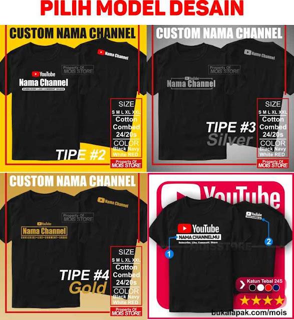 Kaos Youtube Nama Channel Custom Satuan