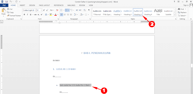 Cara Membuat Daftar Isi