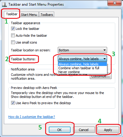 Enable and Disable Taskbar Button Group