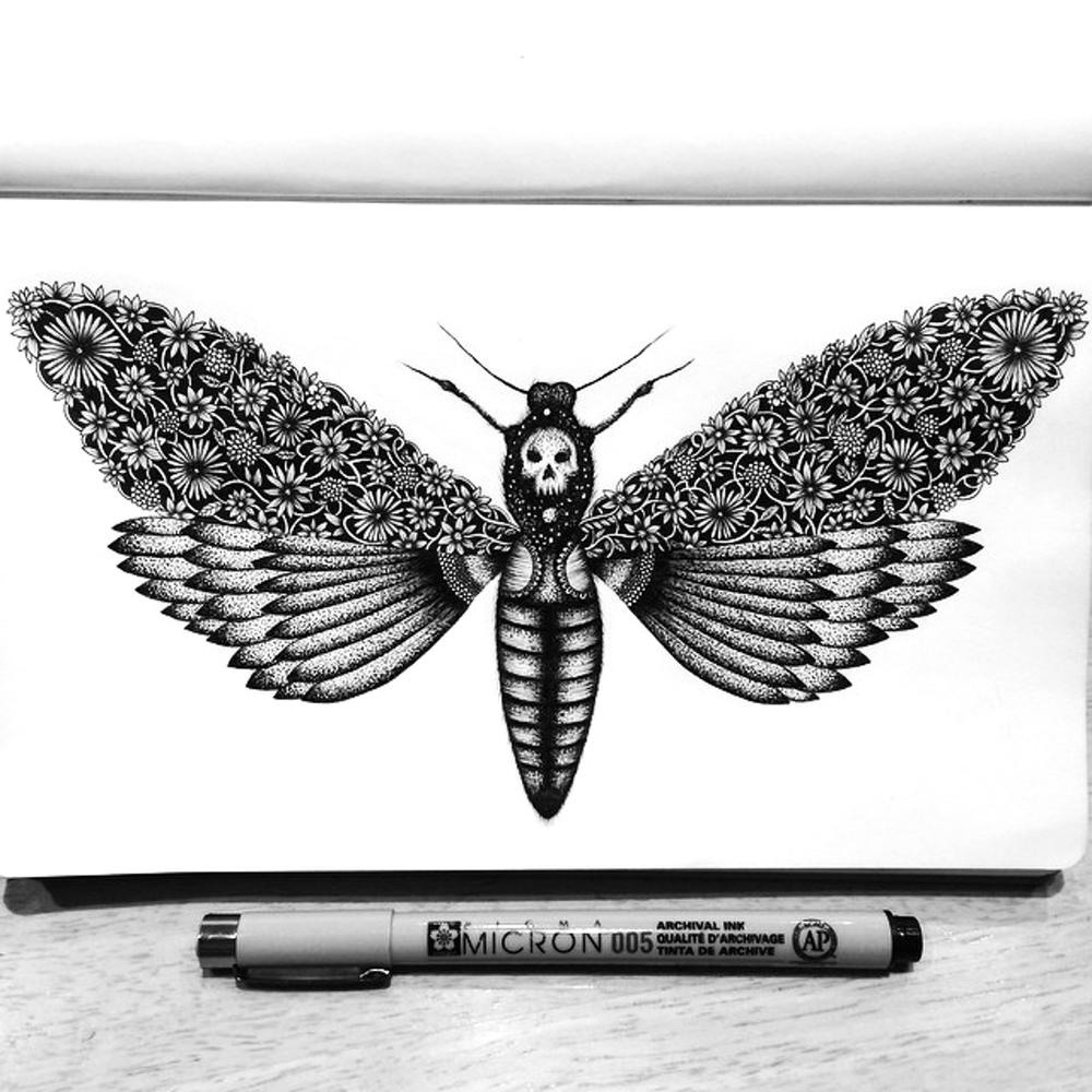 15-Death-s-Head-Pavneet-SembhiSelf-taught-Artist-Creates-Intricate-and-Detailed-Drawings-www-designstack-co