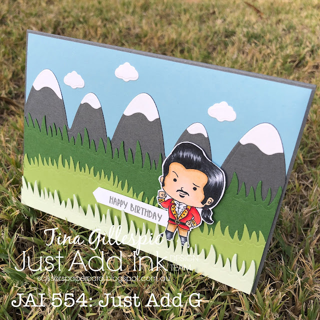 scissorspapercard, Stampin' Up!, Kindred Stamps, Hello Sweetums, Just Add Ink, Little Town Life, Mountains Of Fun, Grass Is Greener, Wiggly Bugs, Copics