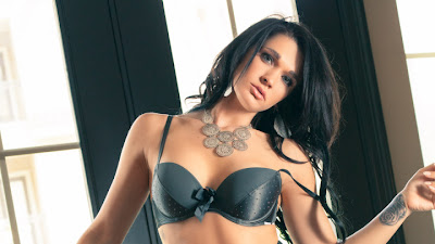 Dark haired centerfold model Brittani Jayde frees perfect tits from satin bra
