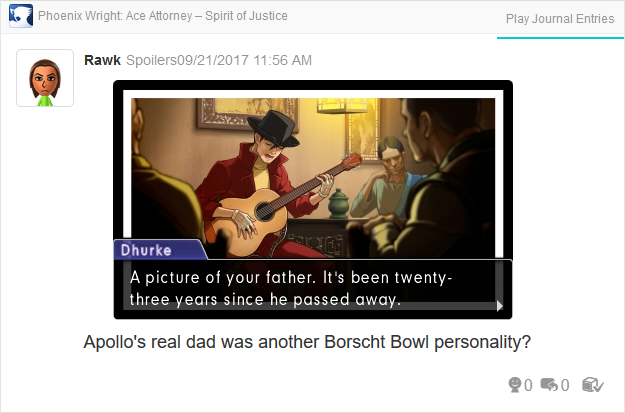 Phoenix Wright Ace Attorney Spirit of Justice Apollo Jove Photo of my Father
