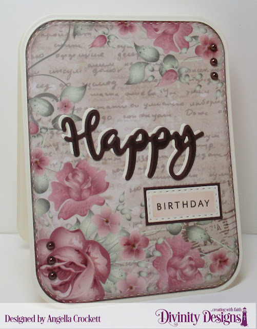 Divinity Designs: Happy Stamp/Die Duos, Double Stitched Rounded Rectangles Dies, Rounded Rectangles Dies, Double Stitched Rectangles Dies, Romantic Roses Paper Collection, Card Designer Angie Crockett