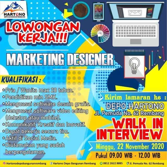 Lowongan Kerja Marketing Designer Hartono Depo Bangunan Rembang