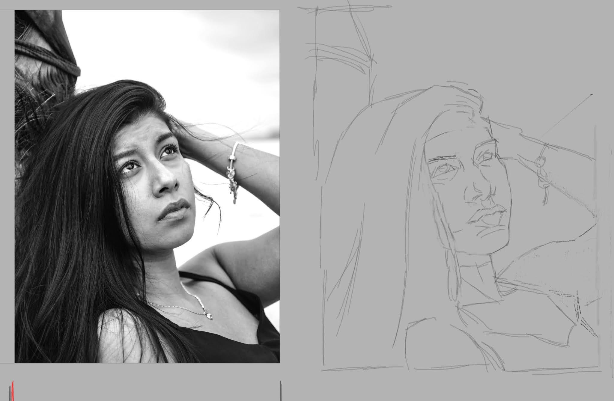 disegno a matita con dettagli di volto di ragazza.