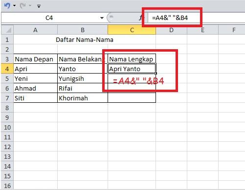 cara menggabungkan data dengan operator ampersand