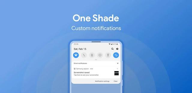 تنزيل One Shade for Android  تطبيق تخصيص لوحة إشعارات  والإعدادات السريعة للاندرويد