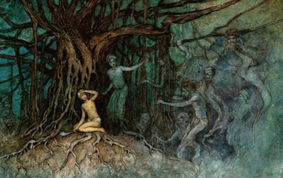 A drawing of a large banyan tree with one person and many ghosts in its roots.